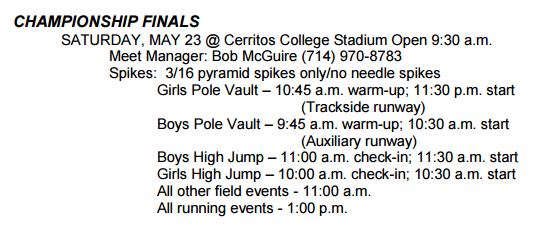 2015-05-23 - Schedule for CIF Finals