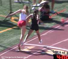 2017-04-22 - Lead photo (Girls' 4x4 Relay - finish of heat 2)
